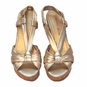 Antonio Melani Gold Wedge Sandals 7M